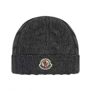 Moncler Hat Dark Grey Wool Cable Knit Hat